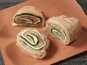 chicken pinwheel with ham and provolone