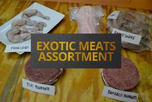 Exotic meats assortment frog legs rattlesnake elk buffalo
