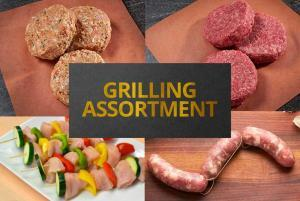 Assortment of meats for the grill kabobs burgers sausage