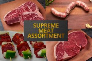 Supreme Meat Assortment with Steaks Burgers Sausage and Kabobs